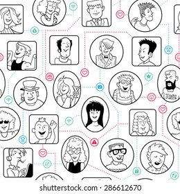 Seamless Team Background in Doodle Style. Funny Social Network with Linked Cartoon People. Vector Illustration. Black Linear Portraits and Icons on White