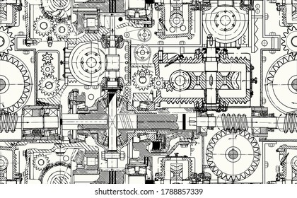 Seamless technical pattern, a background of worm gears and other gears combined into a fantastic machinery. Perfect for web pages, documents, wallpaper in the interior.