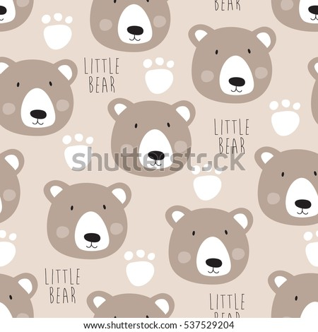 Seamless Teddy Bear Pattern Vector Illustration Stock Vector