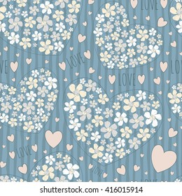 Seamless tender background with flower hearts. Vector illustration with narcissuses