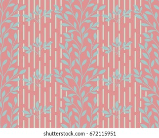 Seamless terracotta background with grey leaves, design for packaging in trendy linear style. Ideal for printing on fabric or paper. Vector illustration.