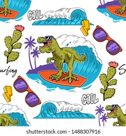 Seamless textile pattern with Funny kid T-REX Tyrannosaurus Rex surfer dino dinosaur riding on big wave Cartoon character trendy illustration vector for print design t shirt tee clothes sticker poster