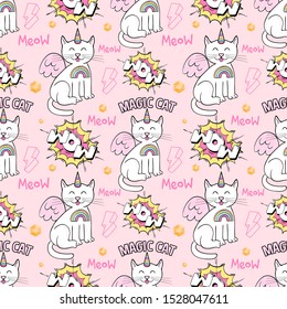 Seamless textile pattern with many cute magic unicorn cats with magic wings rainbow and comics style inscriptions on pink background. Doodle vector cartoon character illustration print design apparel.