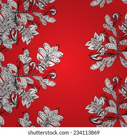Seamless texture with abstract flowers, hand drawn pattern, ornate red background black and white. EPS 10.