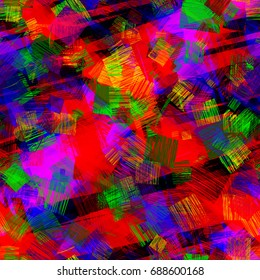 Seamless texture. Abstract vector background. Stripes and strokes. Bright pattern with hatching squares