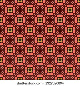 Seamless texture with arabic geometric ornament. Vector oriental mosaic pattern
