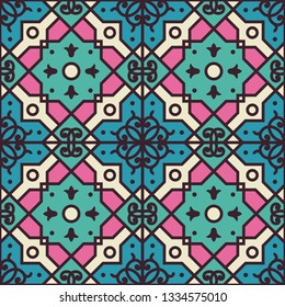 Seamless texture with arabic geometric ornament. Vector oriental colorful classic pattern