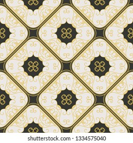 Seamless texture with arabic geometric ornament. Vector vintage pattern
