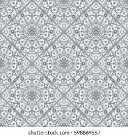 Seamless texture with arabic geometric ornament. Vector linear pattern
