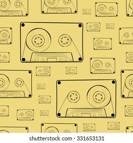 Seamless texture with black contours of audio cassettes