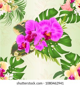 Seamless texture bouquet with tropical flowers  floral arrangement, with beautiful purple and yellow orchids, palm,philodendron and Brugmansia  vintage vector illustration  editable hand draw