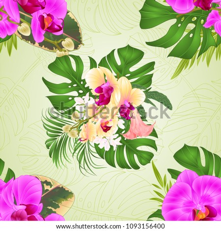 Seamless Texture Bouquet Tropical Flowers Floral Stock Vector