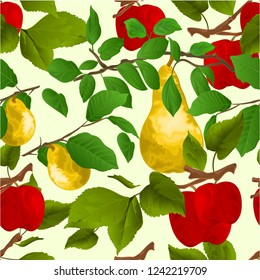 Seamless texture branch apple tree with red apples and yellow ripe pear   autumn background watercolor vitage vector  illustration editable hand draw