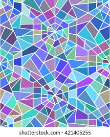 Seamless texture with a broken stained glass, window. Vector background.