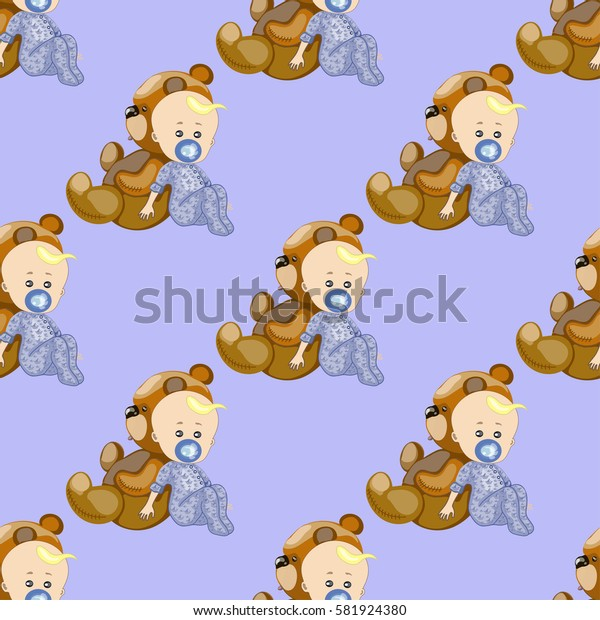 seamless texture , a child with pacifier and teddy bear , on a blue background