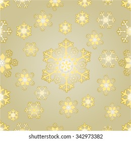Seamless texture Christmas gold snowflakes gold background vector illustration
