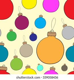 Seamless texture with color Christmas balls on the brown
