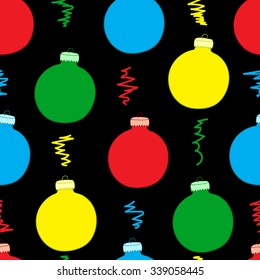Seamless texture with color Christmas balls on the black
