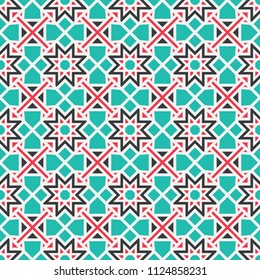 Seamless texture with colorful arabic geometric ornament. Vector mosaic pattern with alternating decorative elements