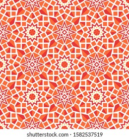 Seamless texture with colorful arabic geometric ornament. Vector asian mosaic pattern with alternating decorative elements
