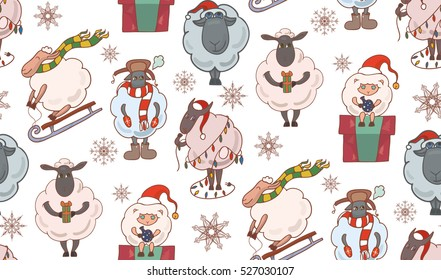 Seamless texture with colorful Christmas cartoon sheep. Vector background for wraps, wallpaper, fabric and your creativity