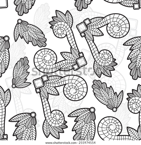 Seamless texture with decorative leaves. Black and white style.