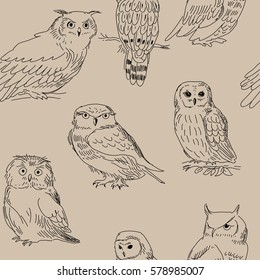 Seamless texture with a different owls in retro style
