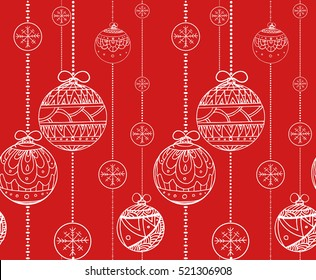 Seamless texture with doodle balls garlands decorated boho pattern. Vector christmas background