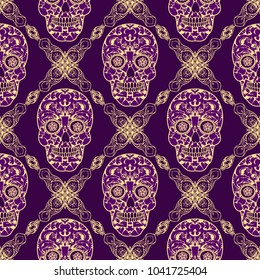 Seamless texture, endless pattern, tribal style colorful simplified ethnic skull template . Vector  traditional folk bone ornament on dark background for design. boho chic