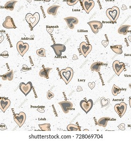 Seamless texture from famous woman's names. Valentines day.