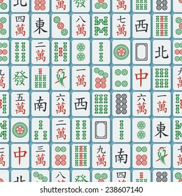 Seamless texture with flat stylish mahjong (majiang) tiles. Numbers from 1 to 9 in dots, symbols and bamboos, winds (east, south, west, north), dragons (green, red, white)