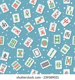 Seamless texture with flat stylish mahjong (majiang) tiles (bamboos, dots and characters from 1 to 9 and honors: winds: east, south, west, north; dragons: red, green, white) on blue background