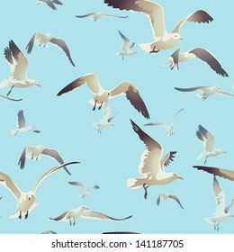 seamless texture with a flock of seagulls flying on a blue background, vector illustration