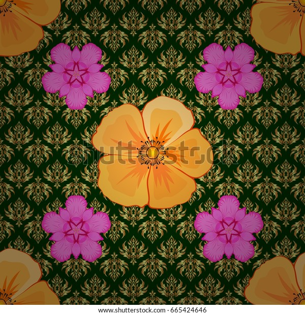 Seamless texture of floral ornament on a green background cosmos flowers. Vector illustration good for the interior design, printing, web and textile design.