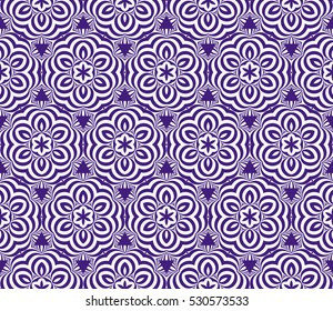 Seamless texture of floral ornament. Optical illusion. Vector illustration. For the interior design, printing, web and textile