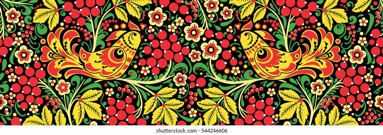 seamless texture floral ornament Russian style Khokhloma 4