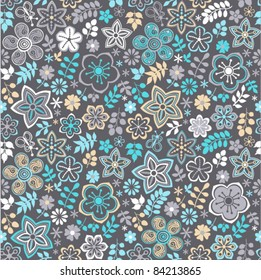 Seamless texture with flowers and butterflies. Endless floral pattern. Seamless pattern can be used for wallpaper, pattern fills, web page background, surface textures.