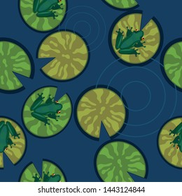Seamless texture of frogs on lily pads on a pond. Vector illustration.