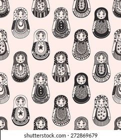 seamless texture with funny Russian dolls - matryoshka. Patterns handmade