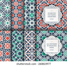 Seamless texture with geometric ornament. Vector set of patterns
