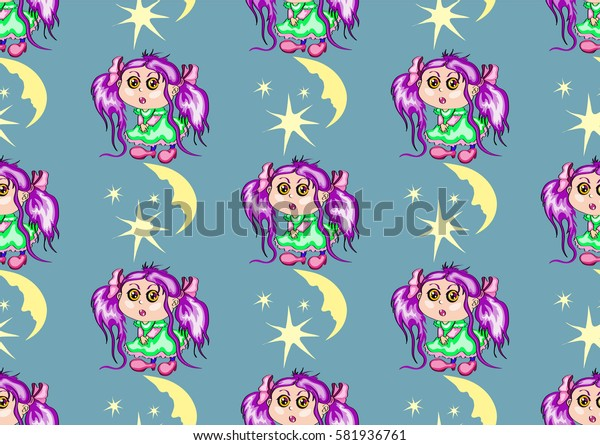 seamless texture , the girl with purple hair and a green dress on a gray-green background with the moon and stars