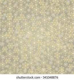 Seamless texture golden snowflakes gold background vector illustration