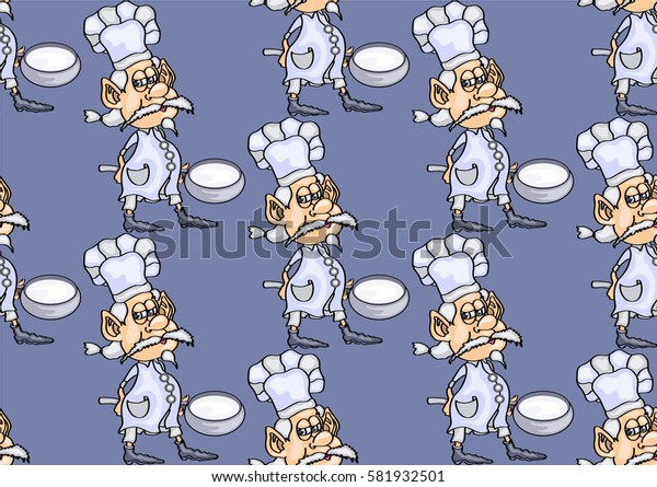 seamless texture, gray-haired chef with a ladle, on a dark gray background