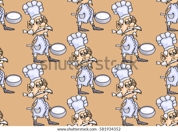 seamless texture , gray-haired chef with a ladle, on a  light brown background