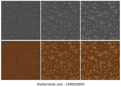Seamless texture ground with small stones, 3 step drawing.. Cute seamless pattern stones. Cartoon Seamless vector texture. Stones on separate layers.