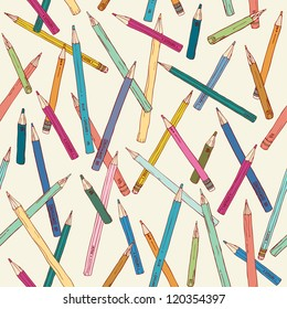 Seamless texture with hand drawn comic pencils. Colorful endless pattern. Template for design backgrounds, textile, wrapping paper, package