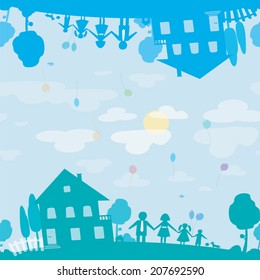 Seamless texture of happy family and house of dream. Illustration