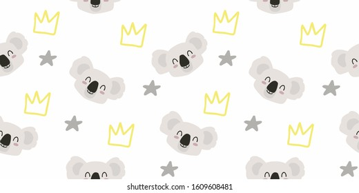 Seamless texture of the head of a cute koala with stars and a crown, vector on a white background. For printing on children's clothing, postcards, textiles, bags. Sticker and avatar of koala bear.