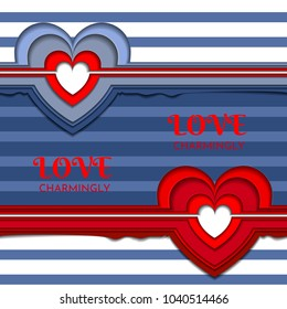 Seamless texture with hearts on a background of white and blue stripes