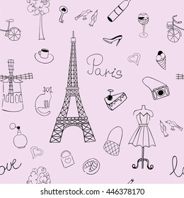 Seamless texture with the image of the Eiffel Tower and other items depicting France